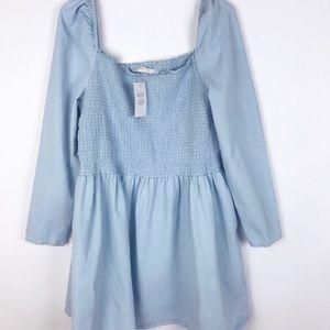 ASOS Women's Denim Shirred Smock Dress Lightwash